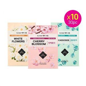 Korean Beauty Skincare -ETUDE-[set] 0.2 Therapy Air Mask 30pcs (white Flower + Madecassoside + Cherry Blossom)