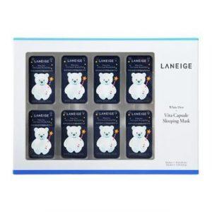 Korean Beauty Skincare -LANEIGE-White Dew Vita Capsule Sleeping Mask Set: 3g x 8pcs + Powder 0.1g 1box 8sets